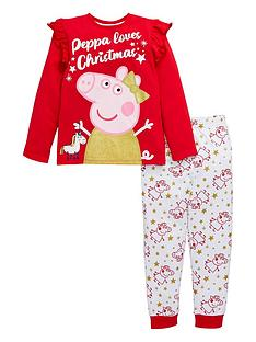 peppa-pig-girlsnbspglitter-christmas-pjs-red