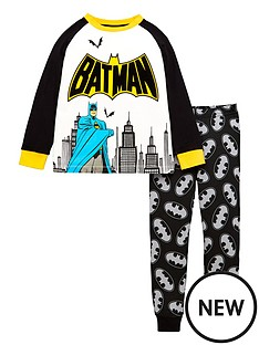 batman-boysnbspraglan-sleeve-pyjamas-withnbspflock-detail-multi