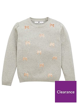 v-by-very-girls-bow-sequin-knitted-christmas-jumper-grey