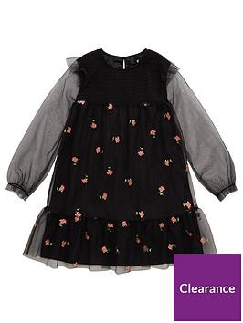 v-by-very-girls-flower-embroidered-mesh-dress-black