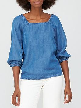 v-by-very-tiya-puff-sleeve-denim-top-mid-wash