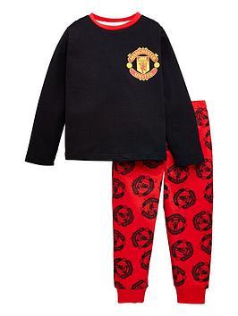 manchester-united-unisex-kidsnbspmotif-long-sleeve-football-kit-pj-set-black