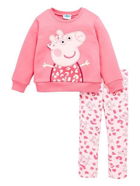 peppa-pig-girlsnbsp2-piece-applique-sweatshirt-and-legging-set-pink