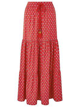 Monsoon Monsoon Ishani Print Sustainable Viscose Skirt - Red Picture