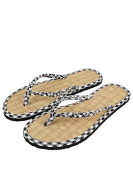 Accessorize  Gingham Printed Seagrass Sandals - Black