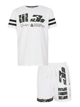river-island-boys-prolific-short-sleevenbspt-shirt-and-shorts-setnbsp--white
