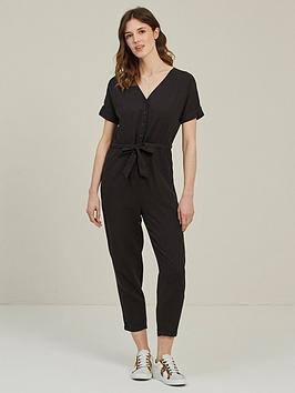 Fat Face   Rhio Linen Blend Jumpsuit - Black