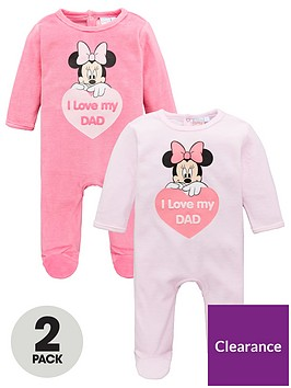 minnie-mouse-baby-girl-minnie-mouse-2-pack-i-love-dad-babygrow-pink