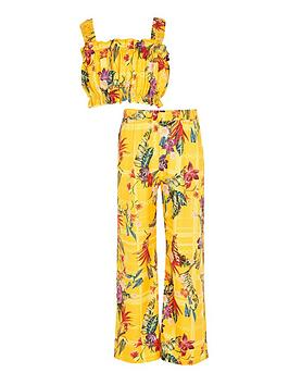 River Island River Island Girls 2 Piece Floral Trouser And Crop Top Set -  ... Picture