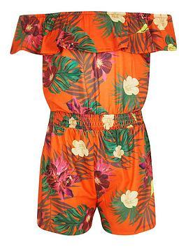 River Island River Island Girls Tropical Bardot Playsuit - Orange Picture
