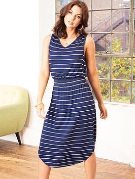 Pour Moi Shirred Waist Midi Jersey Dress - Navy/Stripe