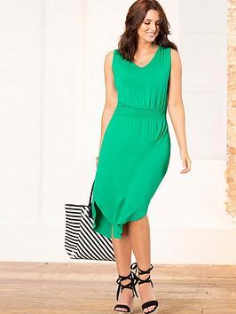 pour-moi-shirred-waist-midi-jersey-dress-emerald