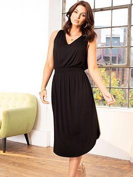 pour-moi-shirred-waist-midi-jersey-dress-black