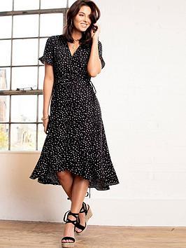 Pour Moi Pour Moi Frill Detail Woven Midi Wrap Dress - Mono Spot Picture