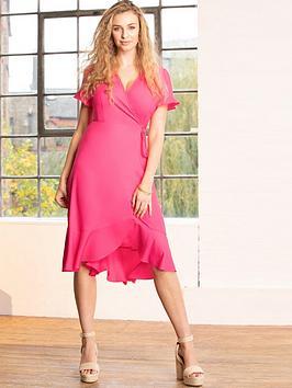 pour-moi-frill-detail-woven-midi-wrap-dress-pink