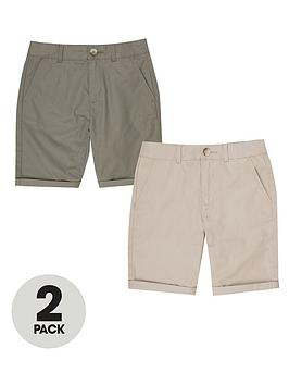 River Island River Island Boys 2 Pack Chino Shorts - Stone/Khaki Picture