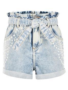 River Island River Island Girls Embelished Denim Shorts - Blue Picture