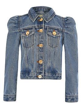 River Island River Island Girls Puff Sleeve Denim Jacket - Blue Picture