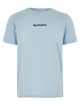 River Island River Island Boys Exclusive Short Sleeves T-Shirt - Light Blue Picture