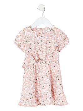 River Island River Island Mini Girls Floral Skater Dress - Pink Picture