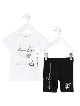 River Island River Island Mini Girls Short Sleeve T-Shirt And Cycling  ... Picture