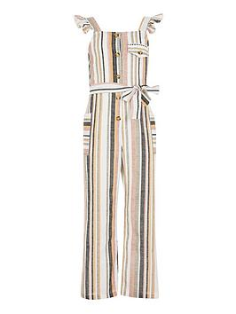 River Island River Island Girls Stripe Jumpsuit - Multi Picture