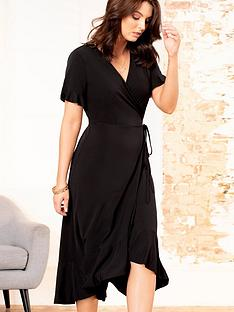 pour-moi-slinky-jersey-frill-detail-midi-wrap-dress-black