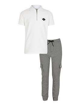 River Island River Island Boys 2 Piece Short Sleeve Polo Shirt And Joggers  ... Picture