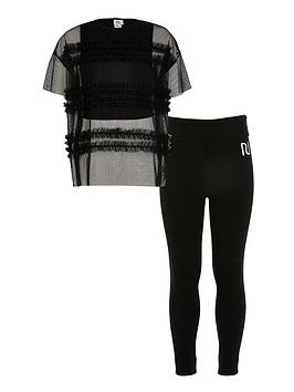 River Island River Island Girls 2 Piece Mesh Top And Leggings Set - Black Picture
