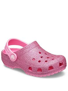 crocs-girls-classic-glitter-slip-on-clog-pink