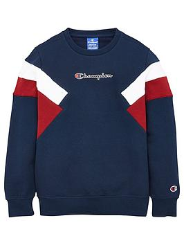 champion-crew-neck-colour-block-sweatshirt-navy