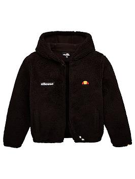 ellesse-older-girls-angola-teddybear-jacket-black