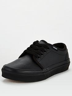 vans-106-tumble-leather-childrens-trainers-black