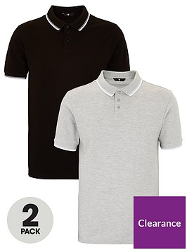 very-man-essentials-2-pack-tipped-pique-polo-shirt-multi