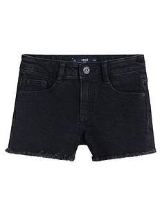 mango-girls-frayed-hem-denim-shorts-charcoal