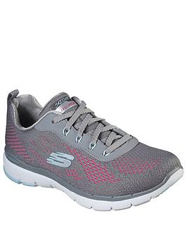 Skechers Skechers Flex Appeal 3.0 Trainers - Grey/Pink Picture