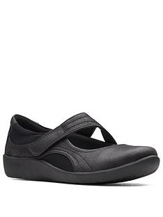 clarks-sillian-bella-leather-flat-shoe-black