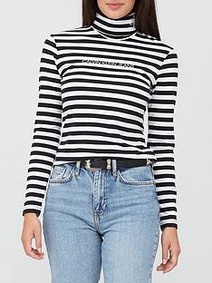 calvin-klein-jeans-stripe-long-sleevenbsproll-neck-top-white