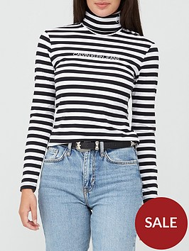 calvin-klein-jeans-stripe-long-sleevenbsproll-neck-top-white