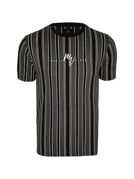 river-island-maison-dogtooth-stripe-tee-black