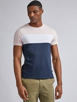 burton-menswear-london-cut-and-sew-panel-t-shirt-ndash-pinkwhitenavy
