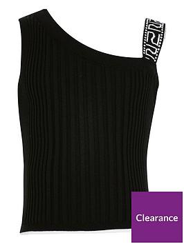 river-island-girls-one-shoulder-fitted-tops-black