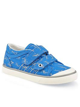 Start-Rite Start-Rite Boys Canvas Wave Shark Plimsolls - Blue Picture