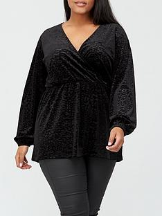 v-by-very-curve-textured-animal-wrap-blouse-black