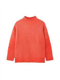 joules-kalia-bubble-stitch-sleeve-jumper-orange