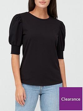 v-by-very-poplin-sleeve-gathered-sleeve-t-shirt-black