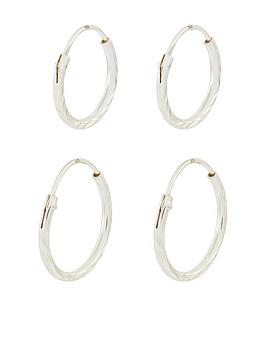 Accessorize Accessorize Sterling 2-Pack Mini Diamond Cut Hoop Set - Silver Picture