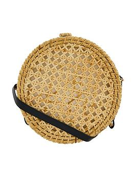 Accessorize   Circle Wicker Crossbody Bag - Natural
