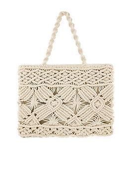 Accessorize Accessorize Macrame Shopper Bag - Cream Picture