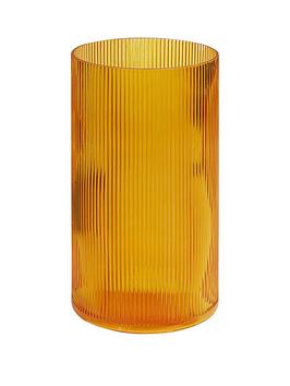 amber-ribbed-glass-vase